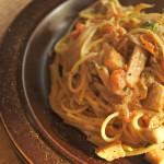 牡蠣とエリンギのトマトクリームパスタ